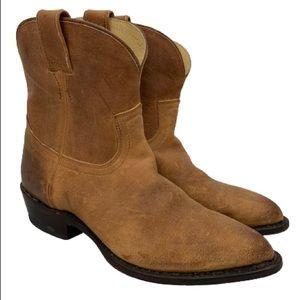 Frye Billy Short Leather Western Bootie in Cognac